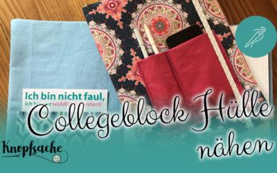 Buchhülle für Collegeblock nähen
