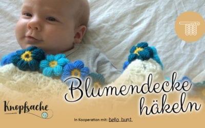 Babydecke mit Blumenrand häkeln